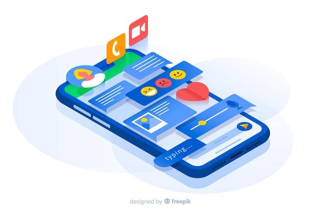 Telefone isométrico com conteúdo projetando da tela Vetor grátis