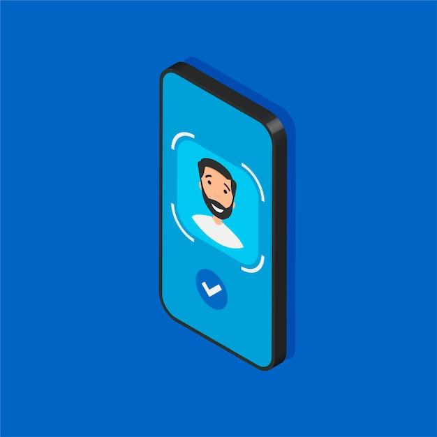 Telefone isométrico com tecnologia de identificação de rosto em exibição. processo de digitalização de rosto em uma tela. sinais do sistema de reconhecimento facial. detecção e acesse os símbolos de segurança. Vetor Premium