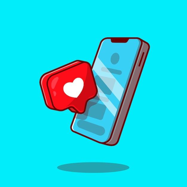 Telefone móvel com ilustração do ícone dos desenhos animados do sinal do amor. Vetor grátis