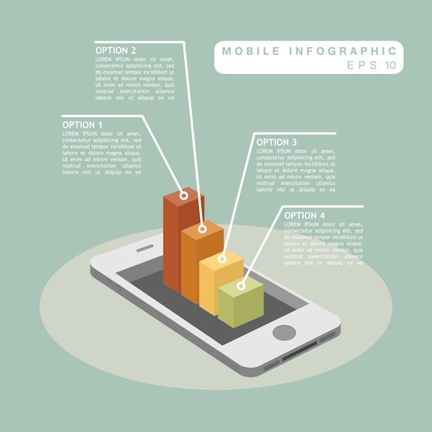 Telefone móvel com infográfico gráfico 3d Vetor Premium