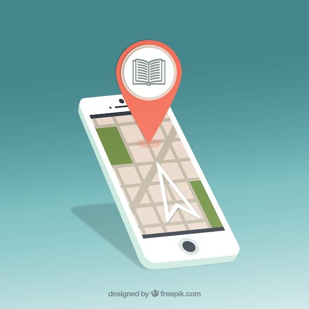 Telefone móvel com o ponteiro na tela Vetor Premium