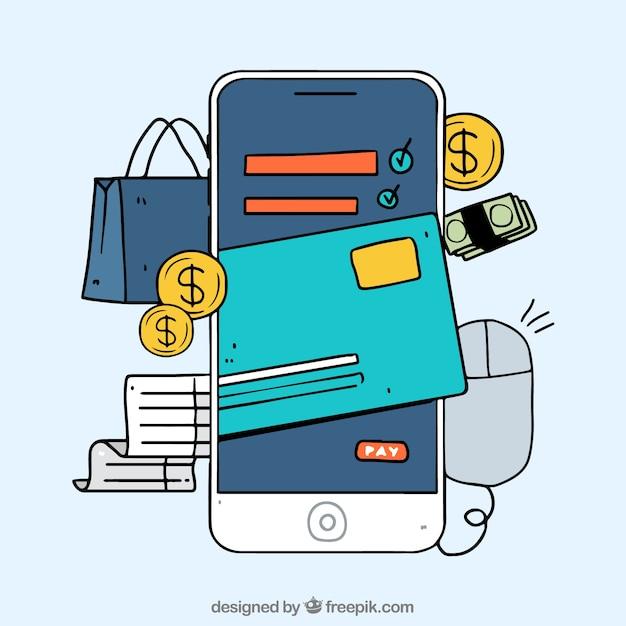 Telefone móvel desenhado à mão, pagamento on-line Vetor grátis