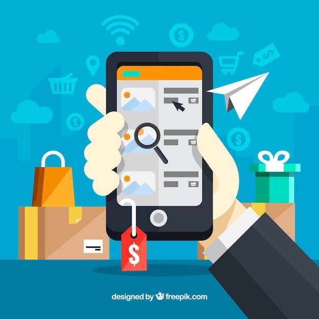 Telefone segurando a mão depois de fazer compras on-line Vetor grátis