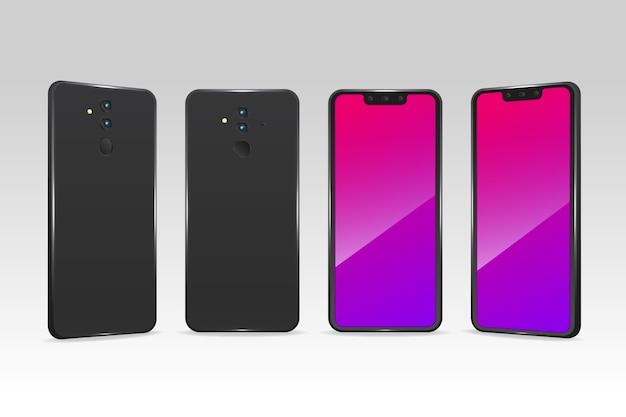 Telefones realistas em diferentes pontos de vista Vetor grátis