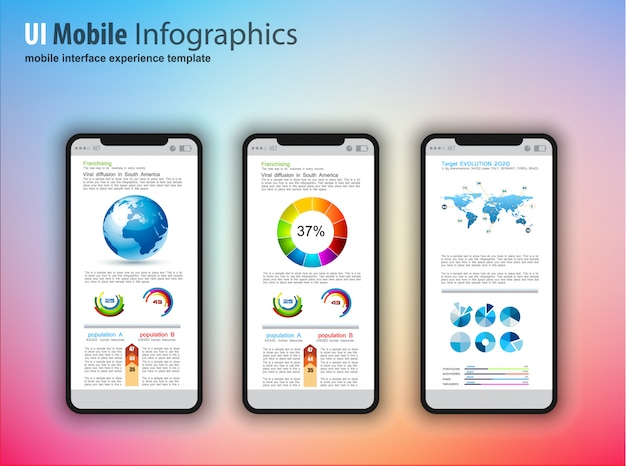 Telefones touchscreen modernos com elementos de design de infográficos de tecnologia Vetor Premium