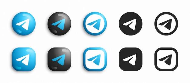 Telegrama moderno 3d e ícones lisos defina vetor Vetor Premium