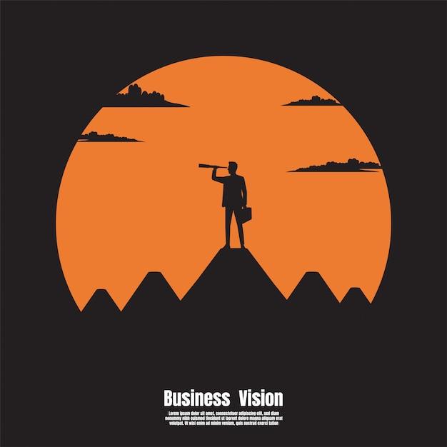 Telescópio olha para o sucesso Vetor Premium
