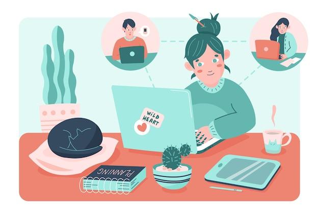 Teletrabalho conceito com mulher assumindo o laptop Vetor grátis