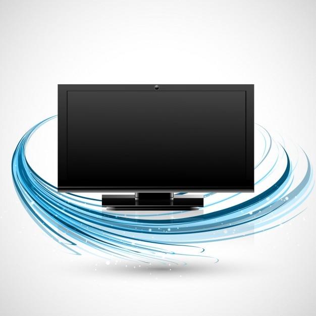 Televisão com onda azul Vetor grátis