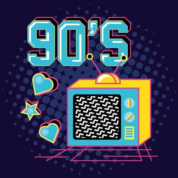 Televisor dos anos 90 retro Vetor Premium