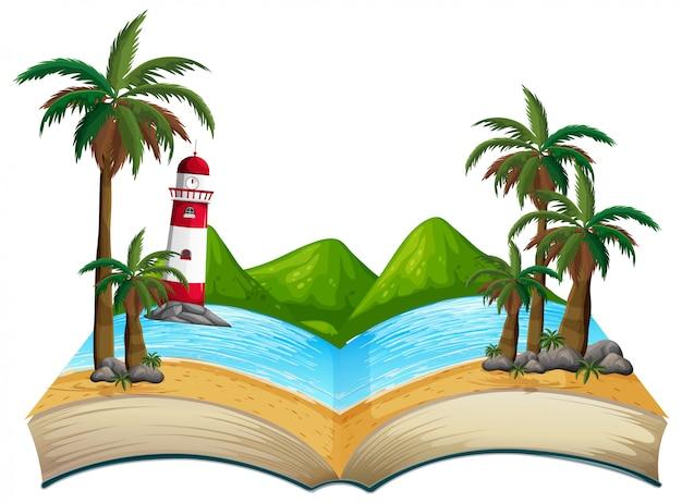 Tema aberto da praia do verão do livro Vetor Premium