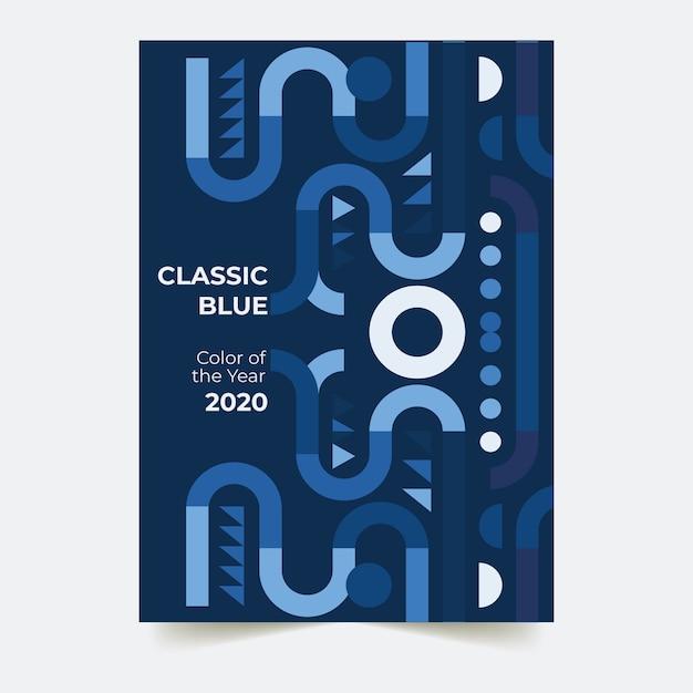 Tema abstrato azul clássico modelo de panfleto Vetor grátis