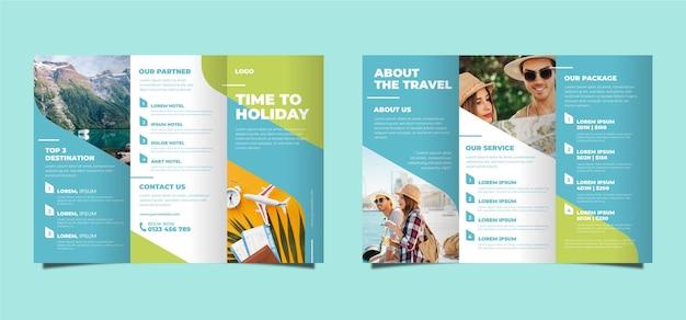 Tema abstrato com três dobras brochura Vetor Premium