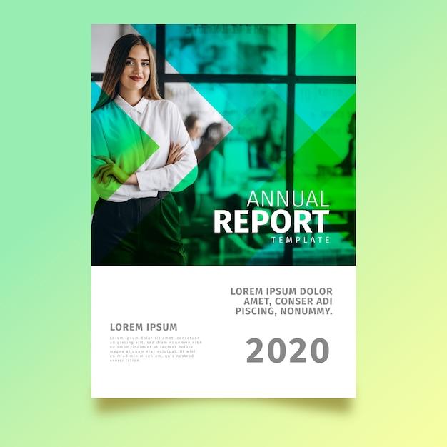 Tema abstrato modelo de relatório anual com foto Vetor grátis