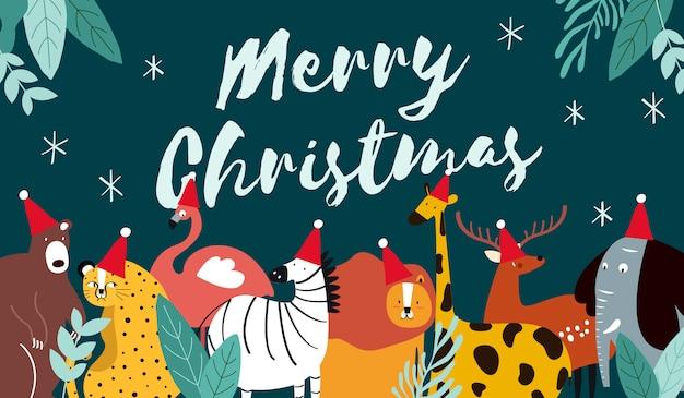 Tema animal vetor de cartão de feliz natal Vetor grátis