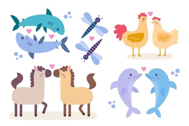 Tema bonito do casal de animais do dia dos namorados Vetor grátis