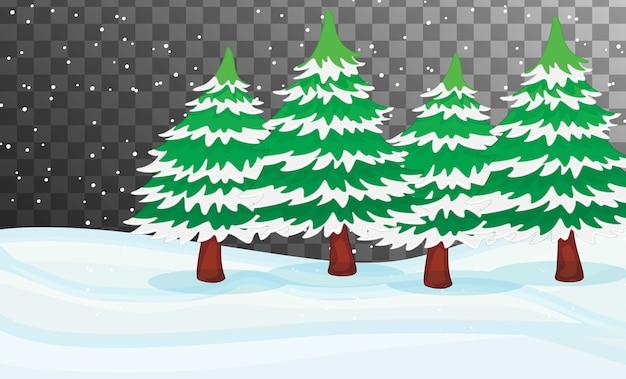 Tema da cena da natureza no inverno com fundo transparente Vetor grátis