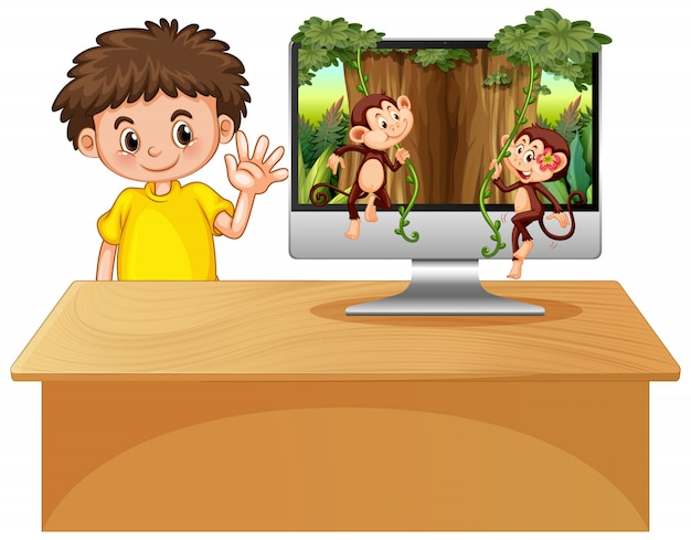 Tema da selva no fundo do computador Vetor grátis