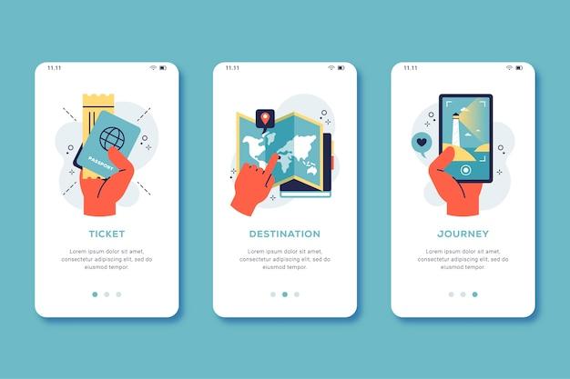 Tema da tela do aplicativo de integração de viagens Vetor grátis