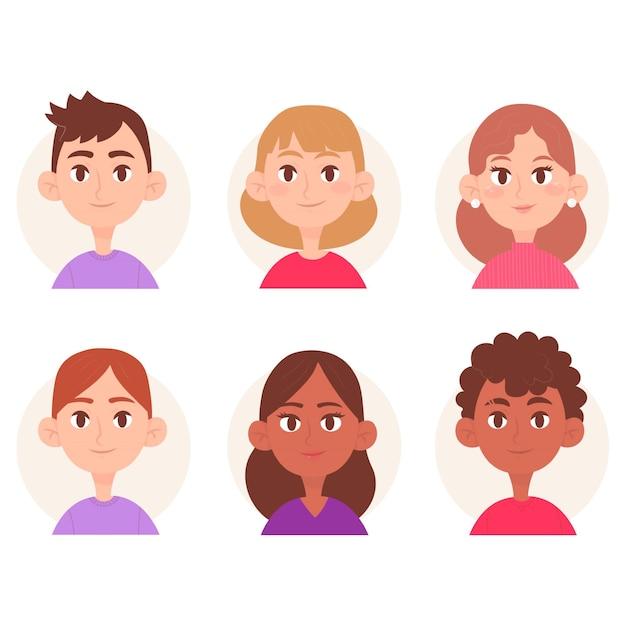 Tema de avatar de pessoas ilustrado Vetor grátis