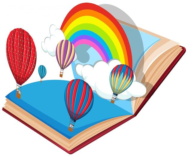 Tema de balão de ar quente de livro aberto Vetor Premium