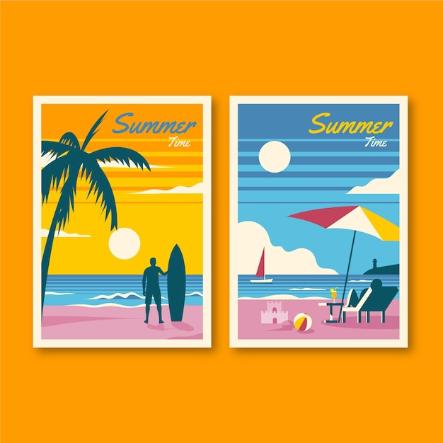Tema de coleção de cartões de verão Vetor grátis