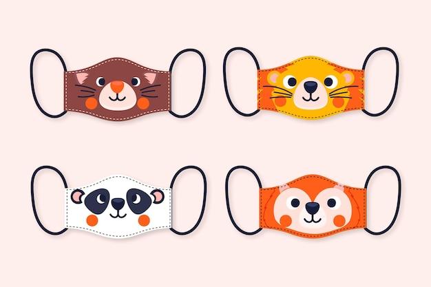 Tema de coleção de máscara de rosto de animal Vetor Premium