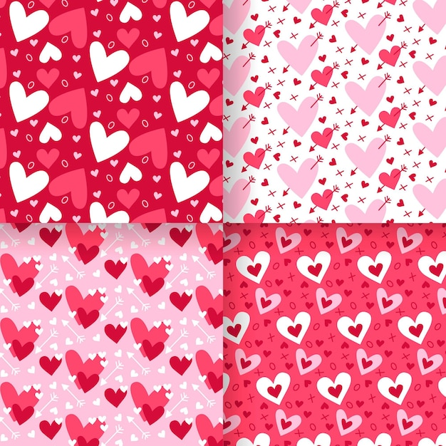 Tema de coleção de padrão de coração Vetor grátis
