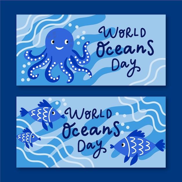 Tema de conjunto do mundo ocean dia bandeira Vetor grátis