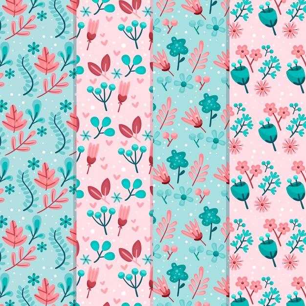 Tema de design plano primavera para coleção padrão Vetor grátis