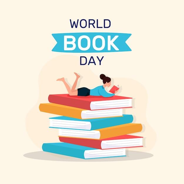 Tema de dia mundial do livro design plano Vetor grátis
