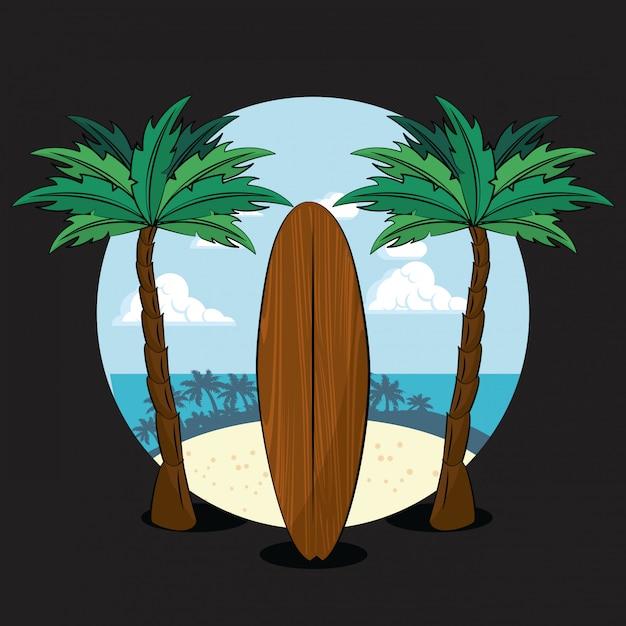 Tema de estilo de vida tropical de surf Vetor Premium