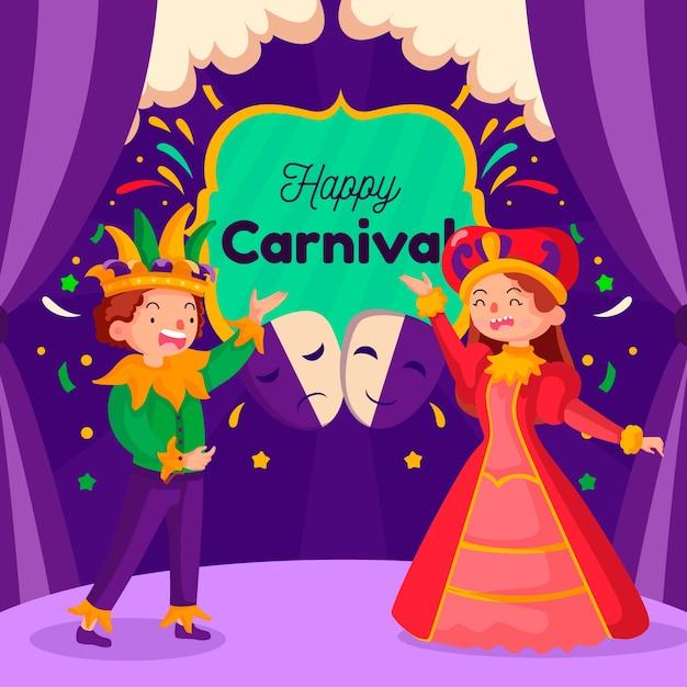 Tema de evento de festa de carnaval de design plano Vetor grátis
