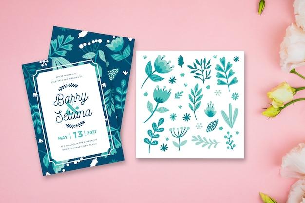 Tema de folhas para convite de casamento Vetor grátis