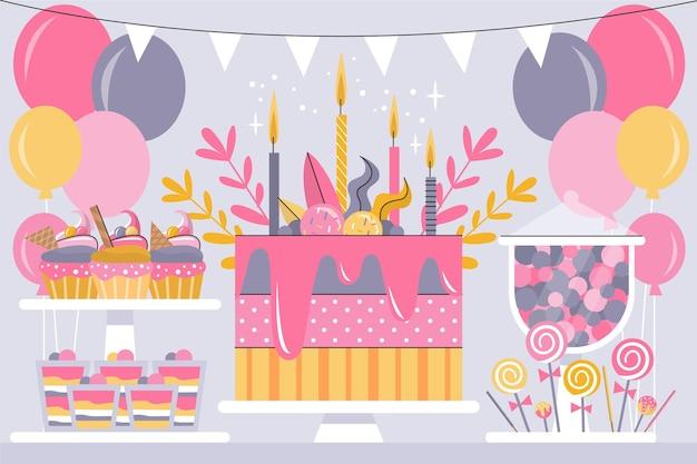 Tema de fundo de aniversário colorido Vetor grátis