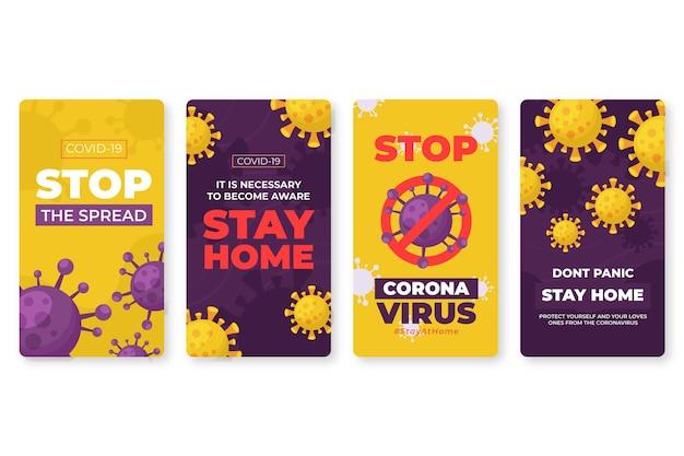 Tema de histórias do instagram do coronavirus Vetor grátis