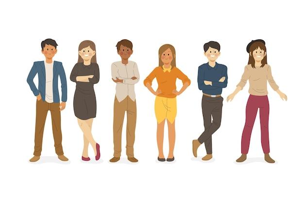 Tema de ilustração de coleção de pessoas confiantes Vetor grátis