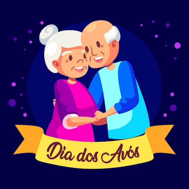 Tema de ilustração dia dos avós Vetor grátis
