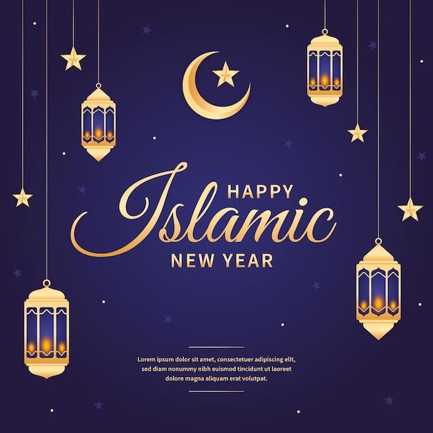 Tema de ilustração do ano novo islâmico Vetor Premium
