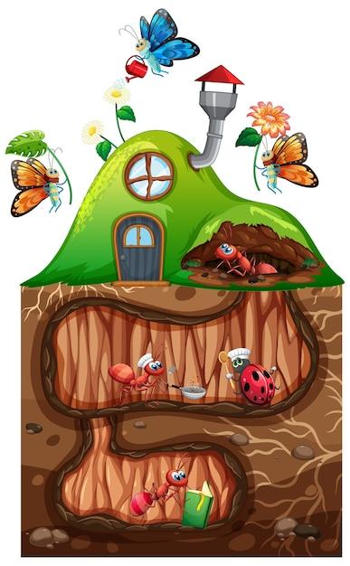 Tema de jardinagem com insetos em sua casa Vetor Premium