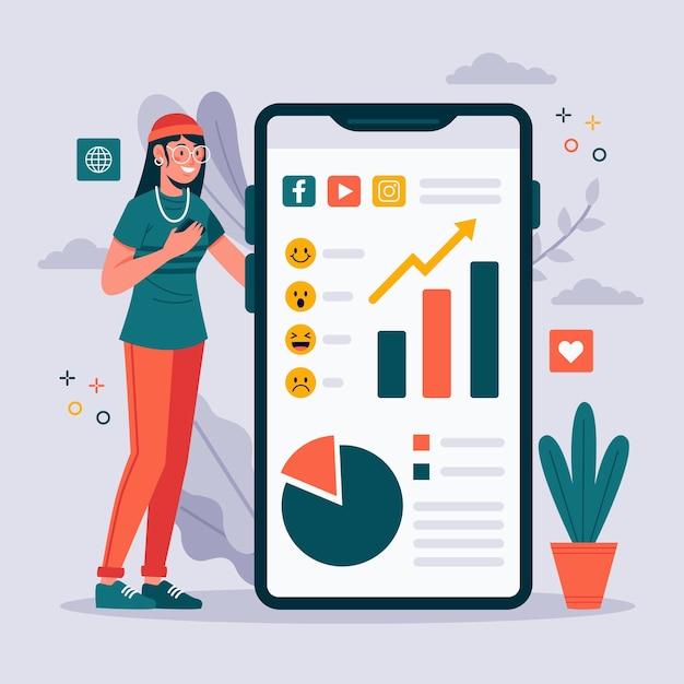 Tema de marketing de mídia social no telefone Vetor grátis