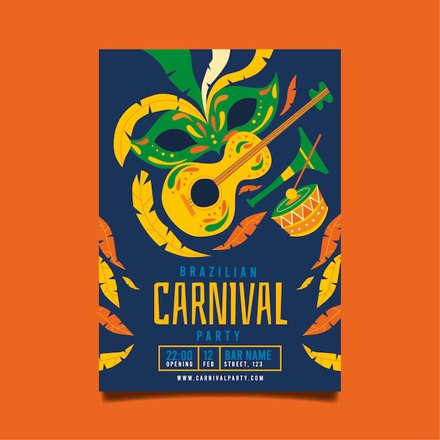 Tema de modelo de cartaz de carnaval brasileiro de design plano Vetor grátis