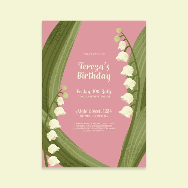 Tema de modelo de convite de aniversário floral Vetor grátis