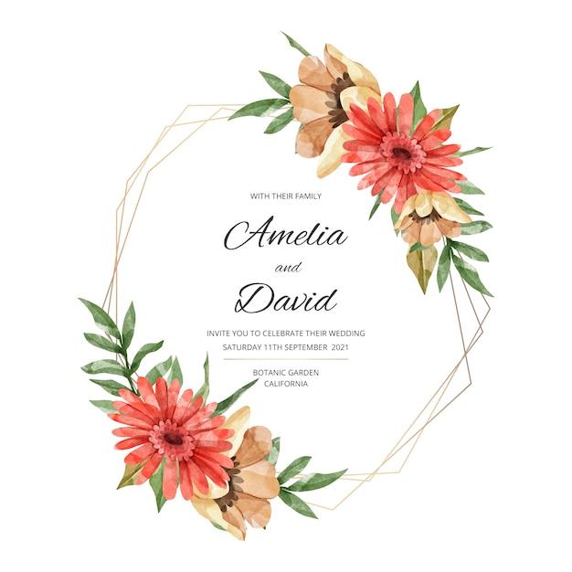 Tema de moldura floral de casamento elegante Vetor grátis