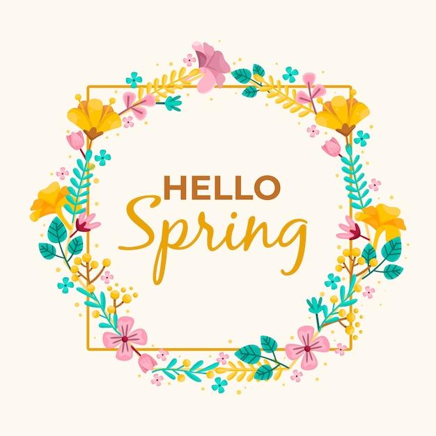 Tema de moldura floral primavera design plano Vetor grátis