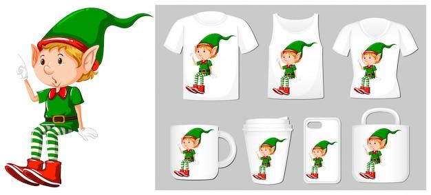 Tema de natal com elfo em muitos produtos Vetor grátis