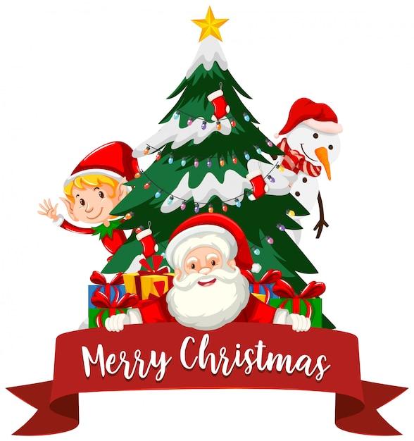Tema de natal com papai noel e árvore Vetor grátis
