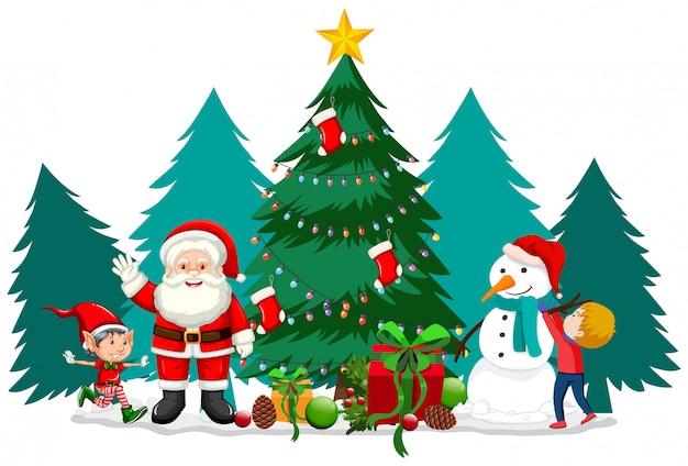 Tema de natal com papai noel e boneco de neve Vetor grátis