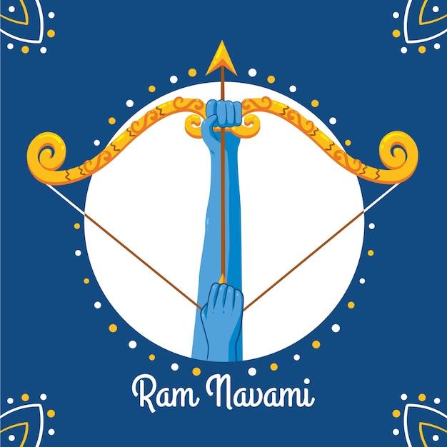 Tema de navami feliz ram desenhado à mão Vetor grátis
