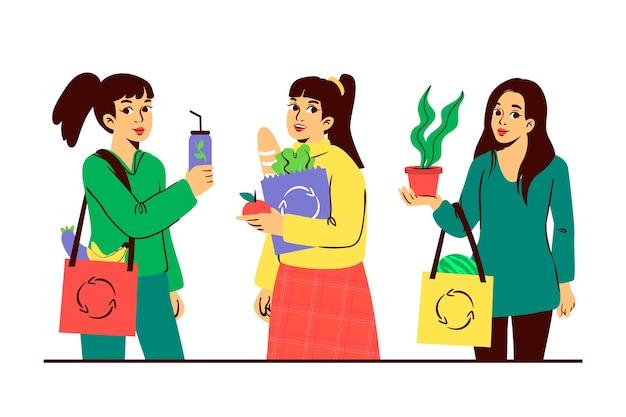 Tema de personagens de estilo de vida verde para ilustração Vetor grátis